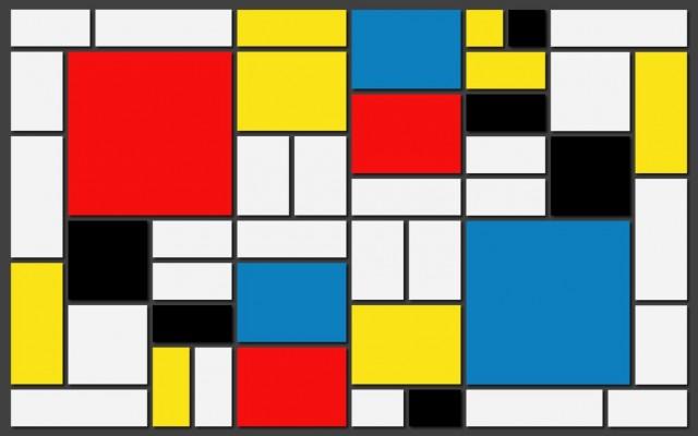 Композиция в жълто, синьо и червено