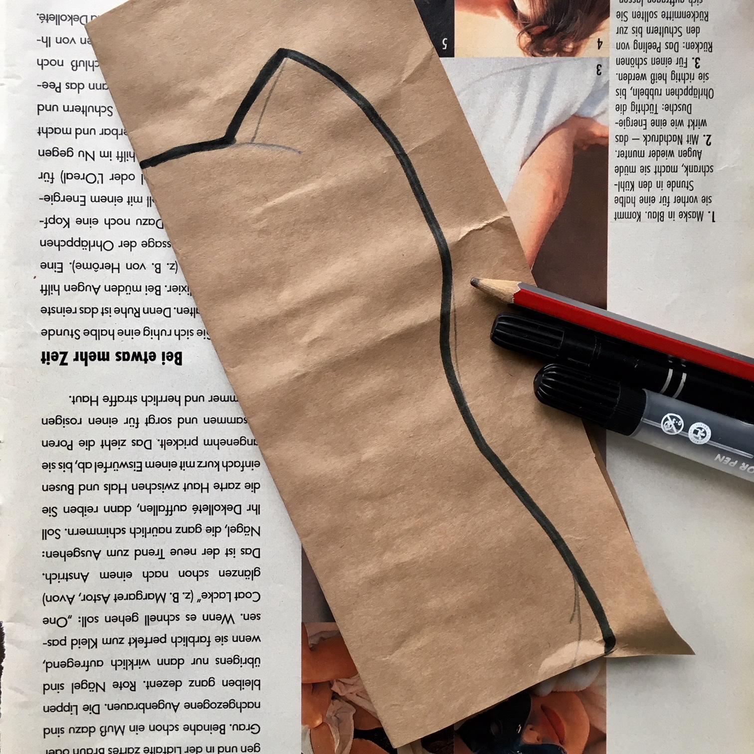 изрязване на кройка за хартиено животно