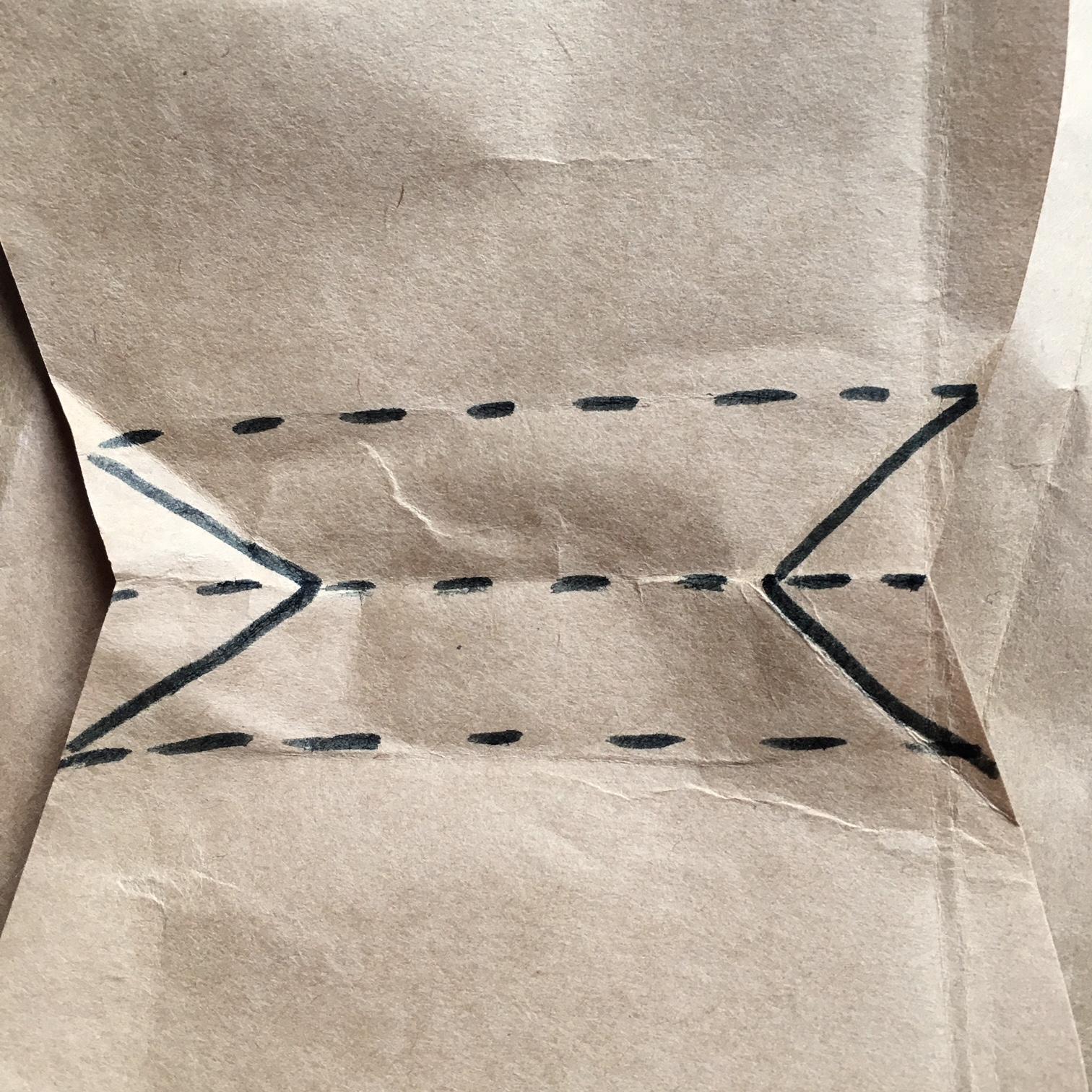 хартиени животни от торба на ИКЕА - сгъване при дъното